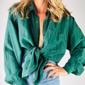 VINTAGE | Silk Forest Green Oversized Button Down